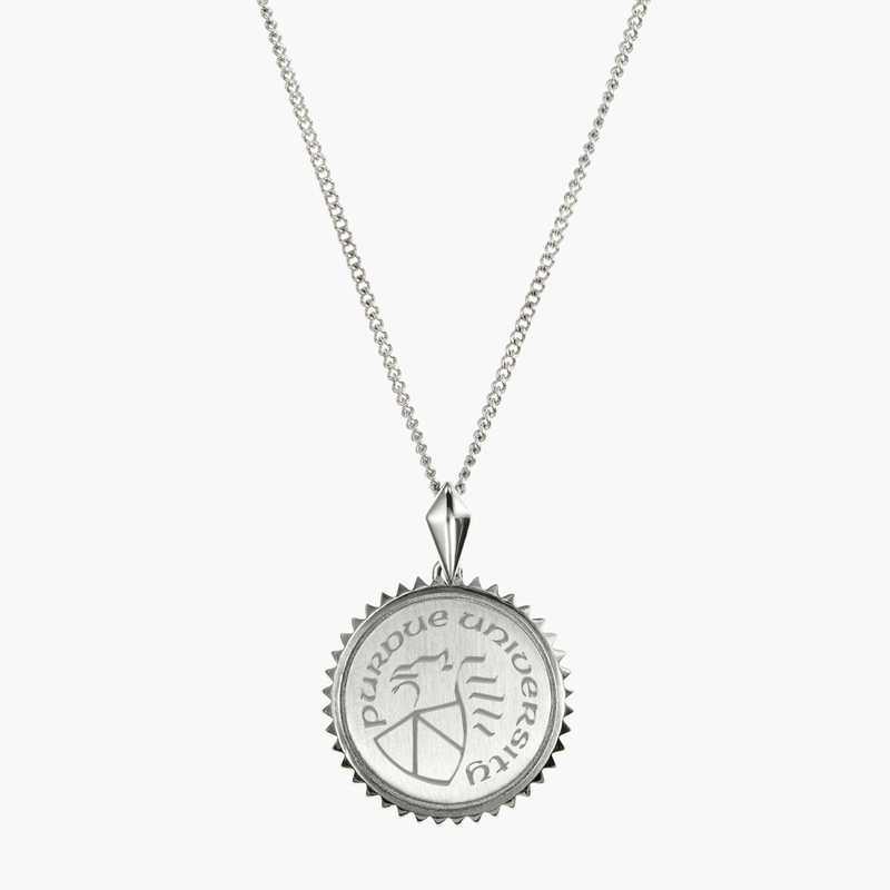 PUR0115: Sterling Silver Purdue Sunburst Ncklc by KYLE CAVAN