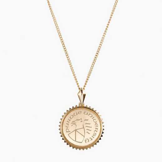 PUR0116: Cavan Gold Purdue Sunburst Necklace by KYLE CAVAN