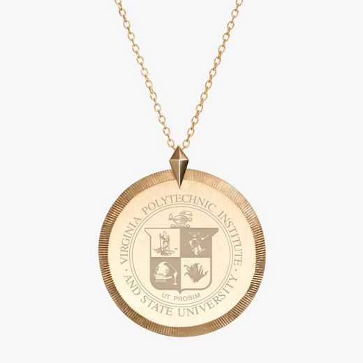 VT0122: Cavan Gold Virginia Tech Florentine Necklace by KYLE CAVAN