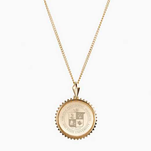 VT0116: Cavan Gold Virginia Tech Sunburst Necklace by KYLE CAVAN