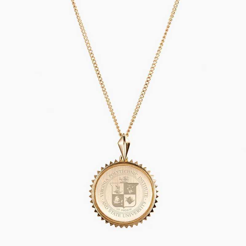 VT0116: Cavan Gold Virginia Tech Sunburst Necklace by KYLE CAVAN