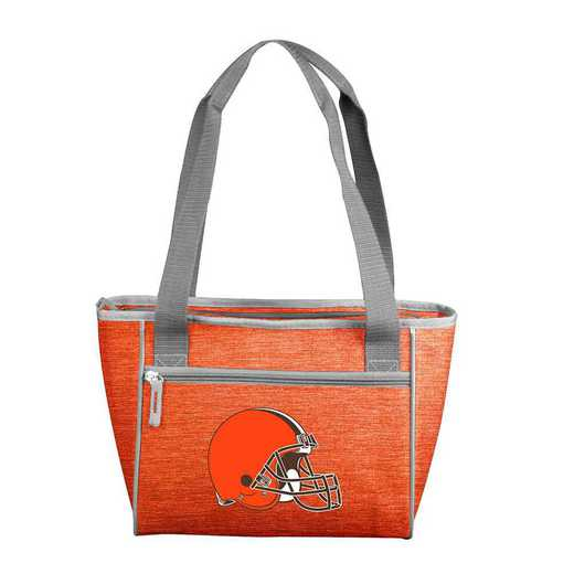 608-83-CR1: Cleveland Brown Crosshatch 16 Can Cooler Tote