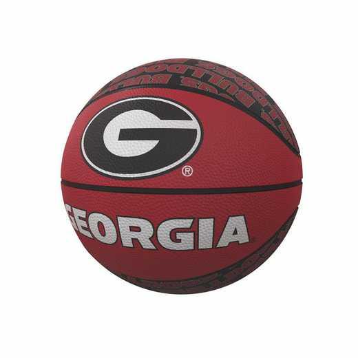 142-91MR-1: Georgia Repeating Logo Mini-Size Rubber Basketball
