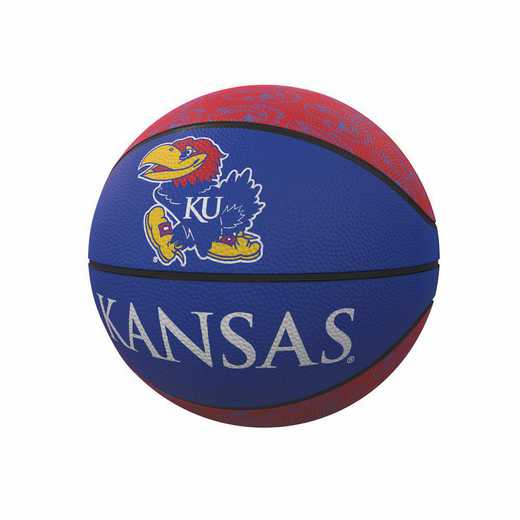 157-91MR-1: Kansas Repeating Logo Mini-Size Rubber Basketball