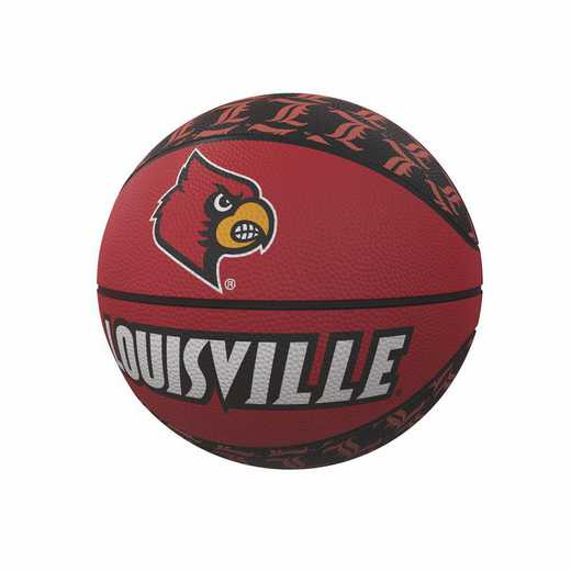 161-91MR-1: Louisville Repeating Logo Mini-Size Rubber Basketball
