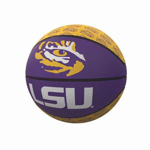 162-91MR-1: LSU Repeating Logo Mini-Size Rubber Basketball