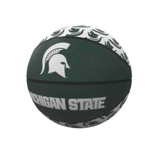 172-91MR-1: MI State Repeating Logo Mini-Size Rubber Basketball