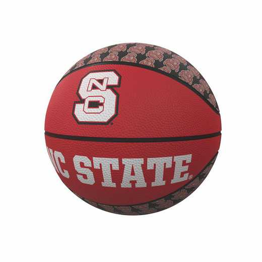 186-91MR-1: NC State Repeating Logo Mini-Size Rubber Basketball