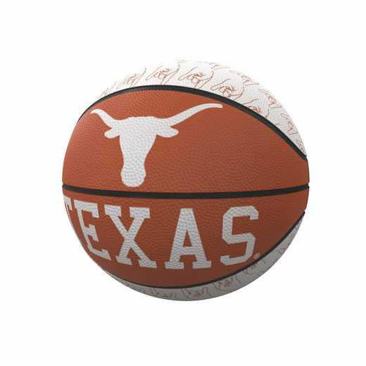 218-91MR-1: Texas Repeating Logo Mini-Size Rubber Basketball