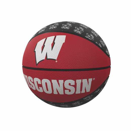 244-91MR-1: Wisconsin Repeating Logo Mini-Size Rubber Basketball