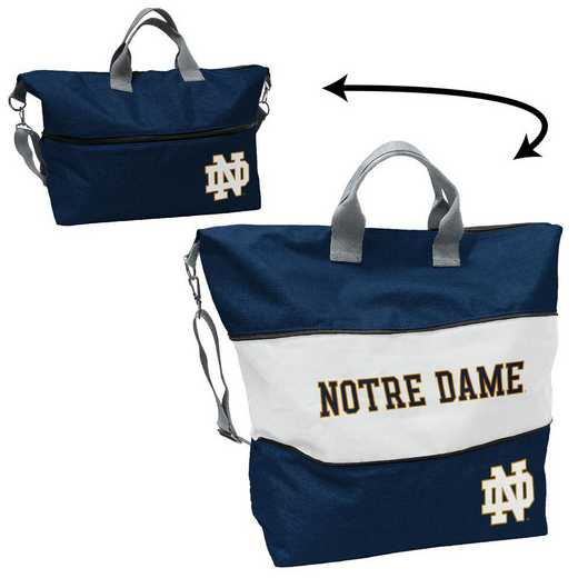 190-665-CR1: Notre Dame Navy/White Crosshatch Expandable Tote