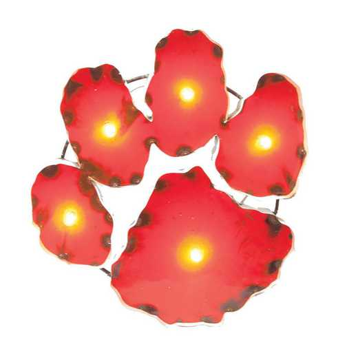PAWDLGT: Clemson Paw Metal Décor w/Lights