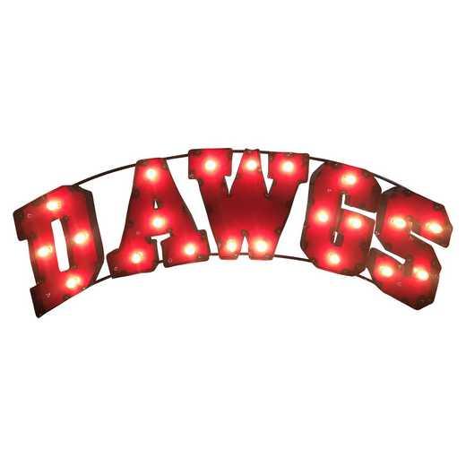 DAWGSWDLGT: Georgia Dawgs Metal Décor w/Lights