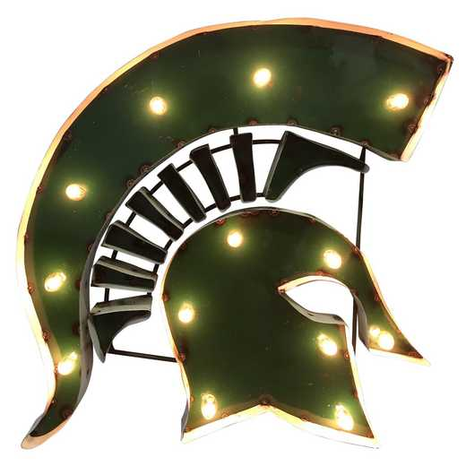 SPARTANHEADWDLGT: Mich St Spartan Metal Décor w/Lights