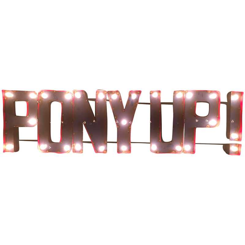 PONYUPWDLGT: SMU Pony Up Metal Décor w/Lights