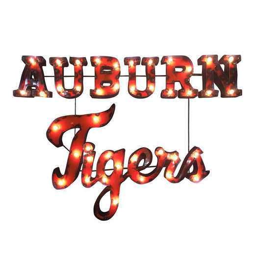 AUBURNTIGERSWDLGT: LRT Auburn Tigers Stacked Metal Décor Lighted