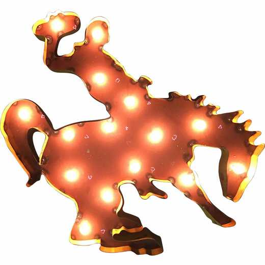 WYOHRSWDLGT: Wyoming Horse recycled metal wall décor Illuminated