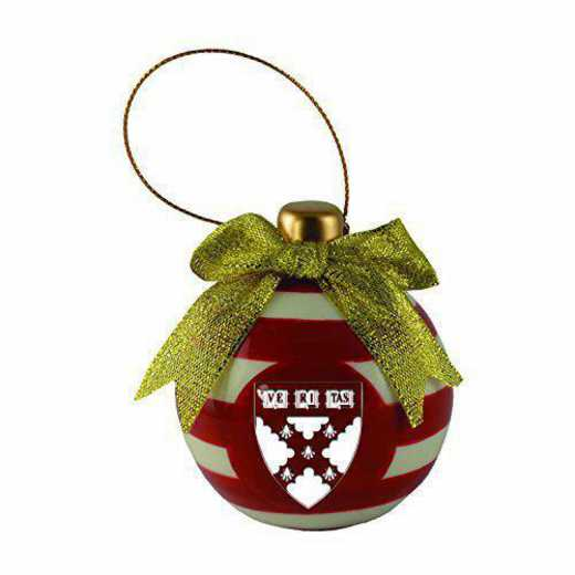 CER-4022-HARVARD-IND: LXG CERAMIC BALL ORN, Harvard