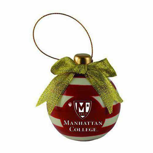 CER-4022-MANHATTAN-SMA: LXG CERAMIC BALL ORN, Manhattan College