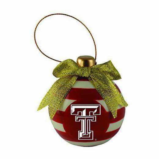 CER-4022-TXTECH-CLC: LXG CERAMIC BALL ORN, Texas Tech