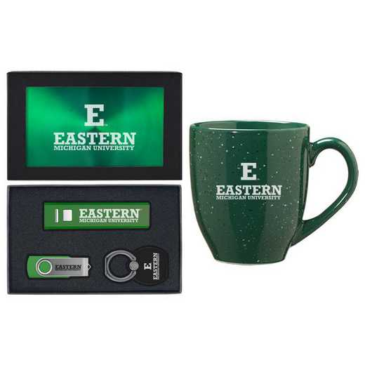 SET-A2-EASTMICH-GRN: LXG Set A2 Tech Mug, Eastern Michigan
