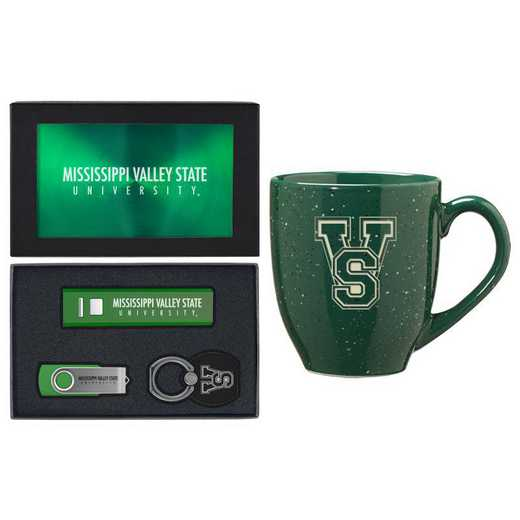 SET-A2-MVSU-GRN: LXG Set A2 Tech Mug, Mississippi Valley State