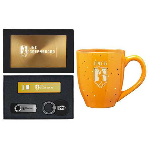 SET-A2-UNCGREN-GLD: LXG Set A2 Tech Mug, North Carolina-Greensboro