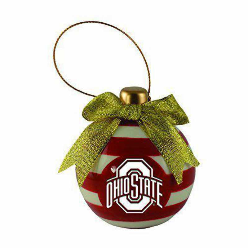 CER-4022-OHIOST-IND: LXG CERAMIC BALL ORN, Ohio State