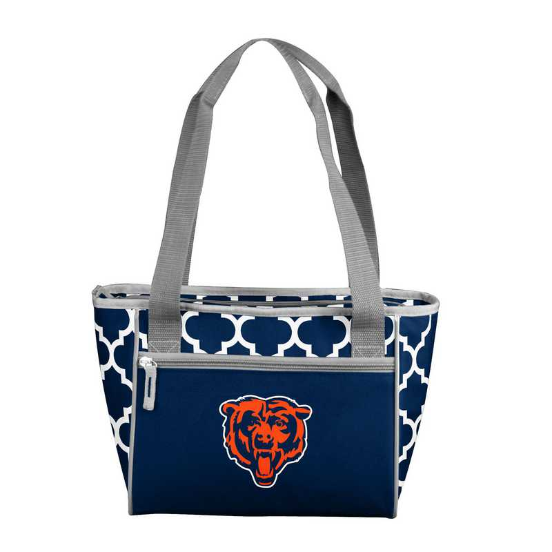 606-83QF: Chicago Bears Quatrefoil 16 Can ClrTote