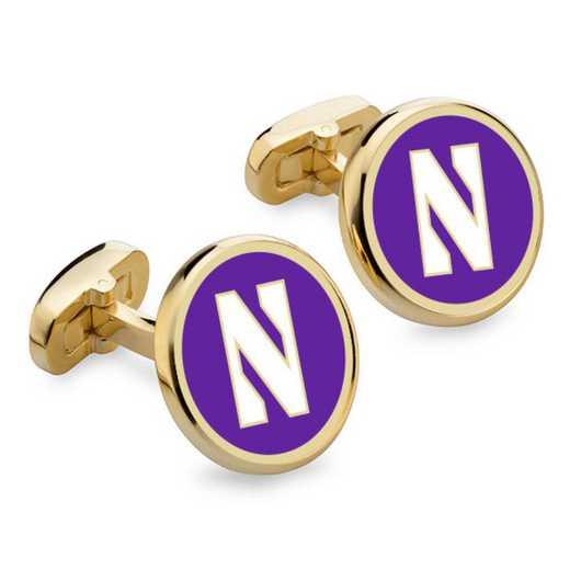 615789268093: Northwestern Enamel Cufflinks by M.LaHart & Co.