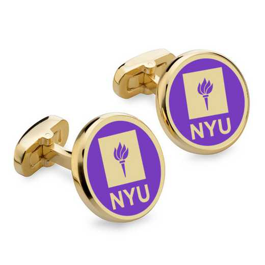 615789466437: New York University Enamel Cufflinks by M.LaHart & Co.