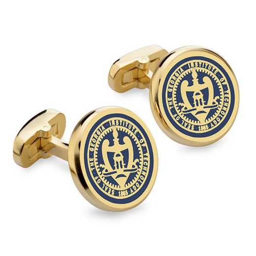 615789893325: Georgia Tech Enamel Cufflinks by M.LaHart & Co.