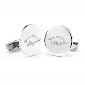 615789230007: University of Arkansas Cufflinks in Sterling Silver