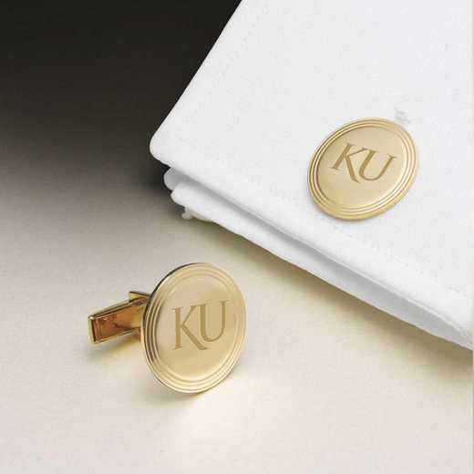 615789255598: Univ of Kansas 14K Gold Cufflinks