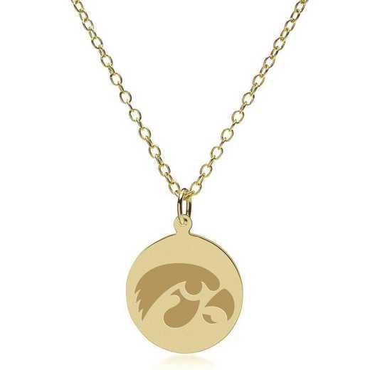 615789472971: Univ of Iowa 14K Gold Pendant & Chain