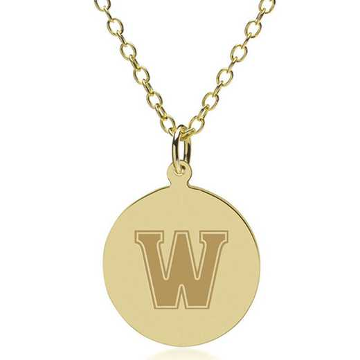 615789705338: Williams College 14K Gold Pendant & Chain