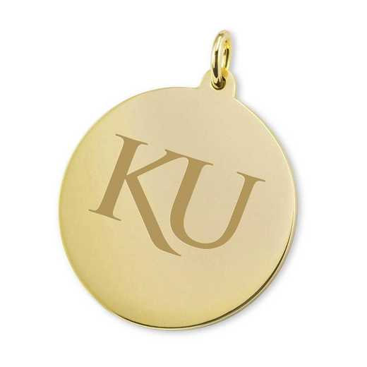 615789926078: Univ of Kansas 18K Gold Charm