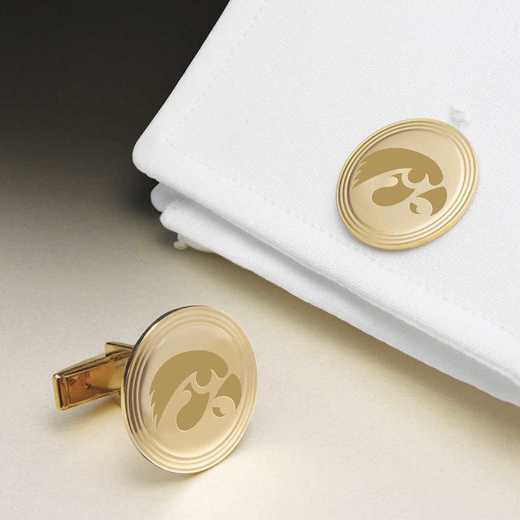 615789558217: Univ of Iowa 18K Gold Cufflinks