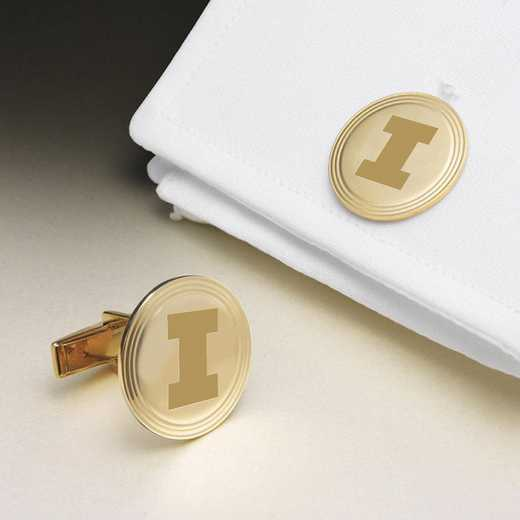 615789940357: Univ of Illinois 18K Gold Cufflinks