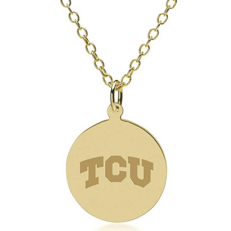 615789118770: Texas Christian Univ 18K Gold Pendant & Chain