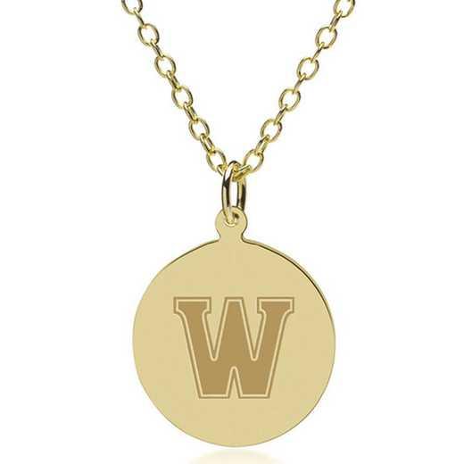 615789167228: Williams College 18K Gold Pendant & Chain