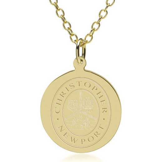615789312536: Christopher Newport Univ 18K Gold Pendant & Chain
