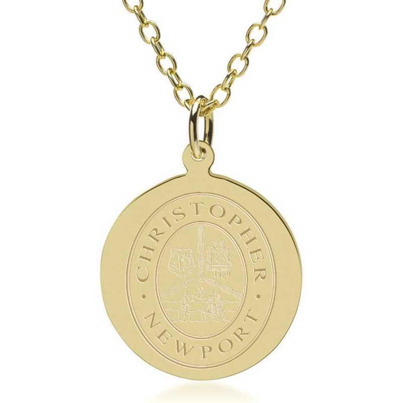 615789312536: Christopher Newport Univ 18K Gold Pendant & Chain