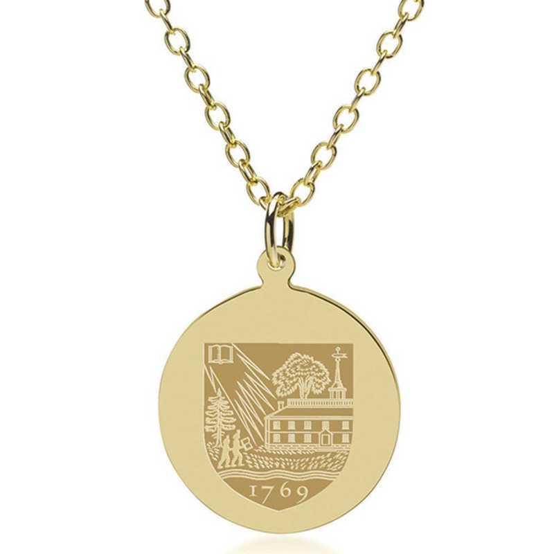 615789338567: Dartmouth College 18K Gold Pendant & Chain