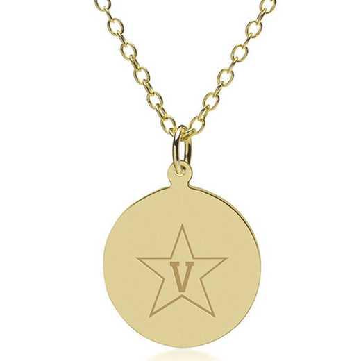 615789349990: Vanderbilt Univ 18K Gold Pendant & Chain