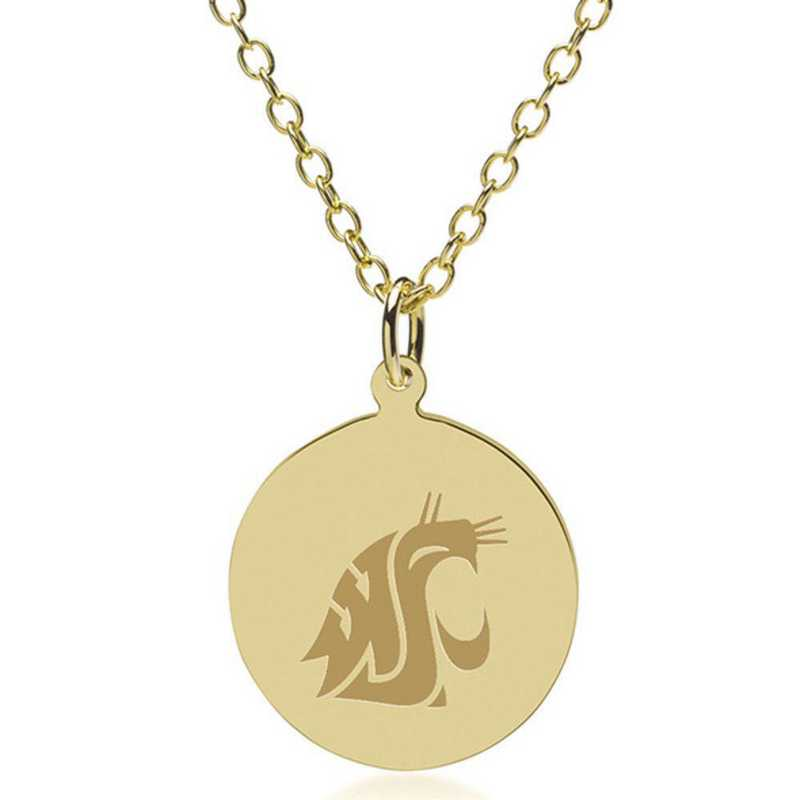 615789631590: Washington State Univ 18K Gold Pendant & Chain