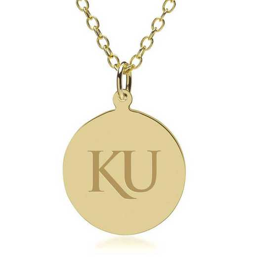 615789753865: Univ of Kansas 18K Gold Pendant & Chain