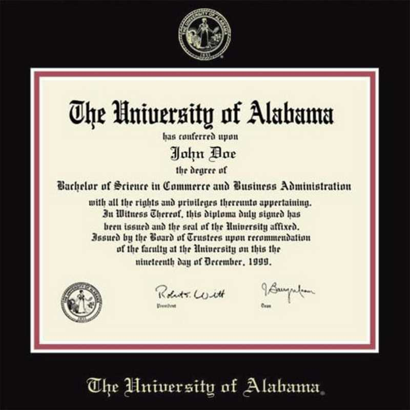 Alabama Diploma Frame with photo and wood frame Cherry, Walnut