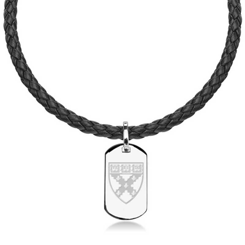 615789494812: Harvard Business School Leather Necklace with Sterling Dog Tag