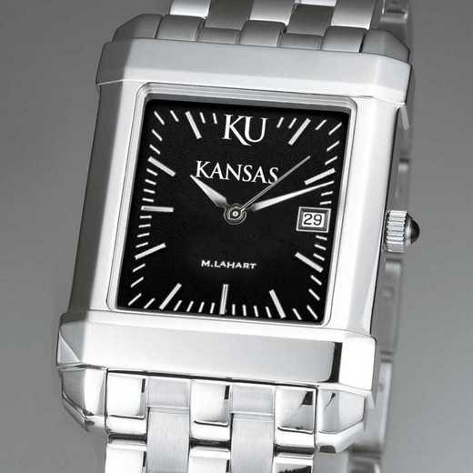 615789996828: Univ of Kansas Men's Black Quad with Bracelet